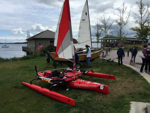 Would you sail and paddle in this modified Hobie Mirage trimaran all the way to Alaska?  Roger Mann of Team Discovery intends to.