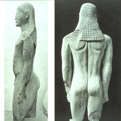 Many ancient statues, such as this one from Greece, display a J-shaped spine. The statue's back is nearly flat until the bottom, where it curves so the buttocks are behind the spine.