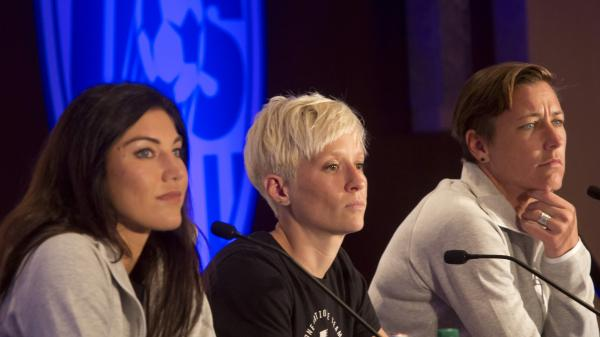U.S. women's soccer players (from left) Hope Solo, Megan Rapinoe and Abby Wambach take questions during the U.S. women's national team World Cup media day last month in New York.