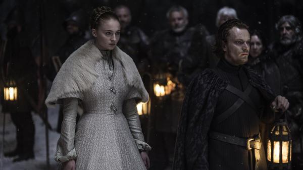 Sansa Stark (Sophie Turner) and Theon Greyjoy (Alfie Allen) on <em>Game of Thrones</em>.