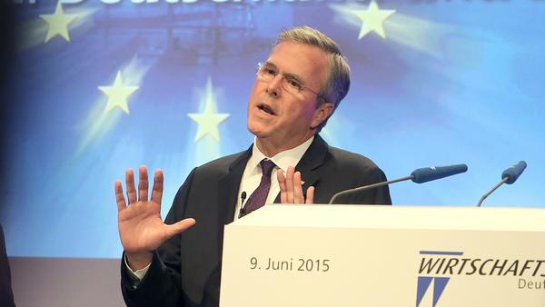 Jeb Bush speaking in Germany days before his expected official launch of his presidential campaign.