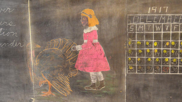 An untouched chalkboard from 1917 was found behind a classroom wall at Emerson High School in Oklahoma City.