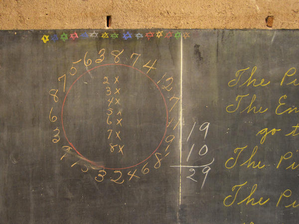 "The ""multiplication wheel"" was found behind a wall at Emerson High School."