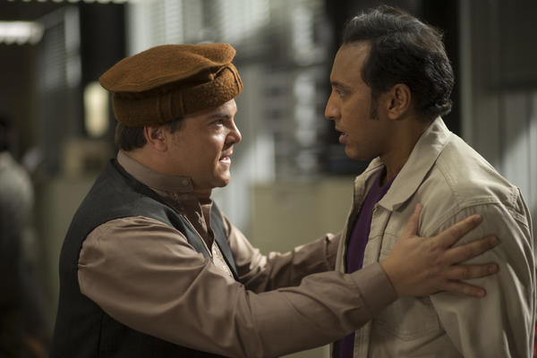 Jack Black (left) is a low-level State Department envoy and Aasif Mandvi is his driver on the ground in Pakistan in <em>The Brink.</em>