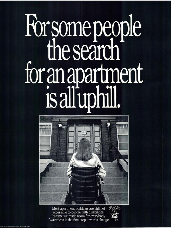 A poster urges landlords to make housing accessible to all.