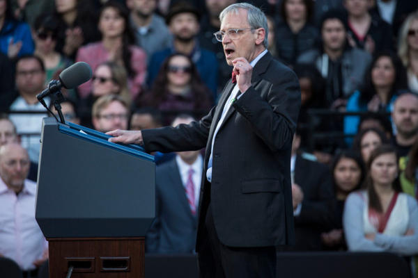 <p>Oregon congressman Earl Blumenauer speaks in Portland in May. The following month, he received money from members of the marijuana industry at a fundraiser.</p>