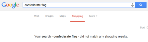 A search for Confederate flags in Google Shopping on June 24, 2015, did not match any shopping results. (Screenshot)