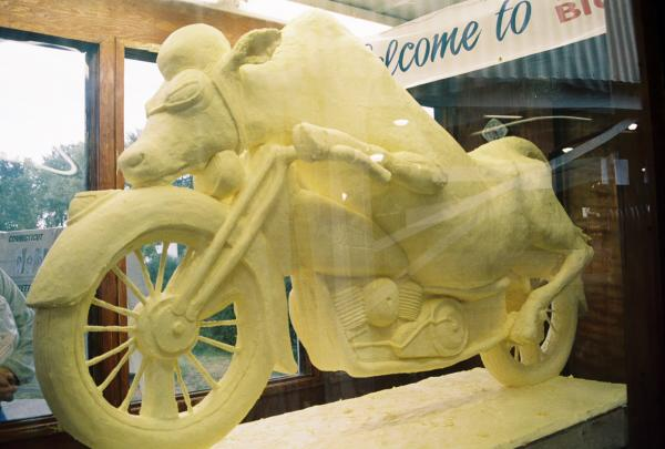<em>Cow on a motorcycle,</em> by Jim Victor and Marie Pelton