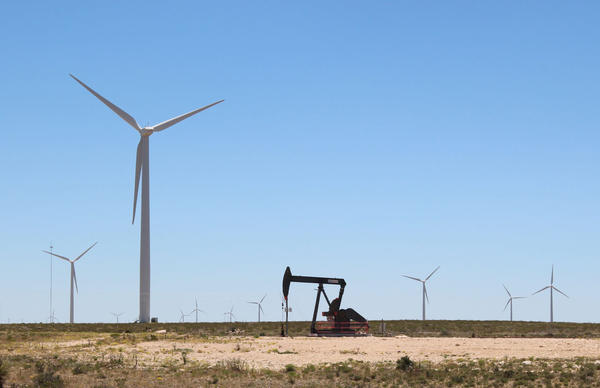 Oil and gas dominate the Texas energy market but wind is growing exponentially. Wind power now provides 10 percent of the state's electricity. (Lorne Matalon/Marfa Public Radio)