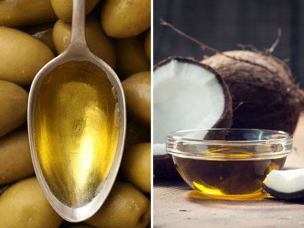 On the left, olive oil, which is low in saturated fat and high in monounsaturated fat, which may lower bad cholesterol levels. On the right, coconut oil, which is 90 percent saturated fat and may raise bad cholesterol levels.