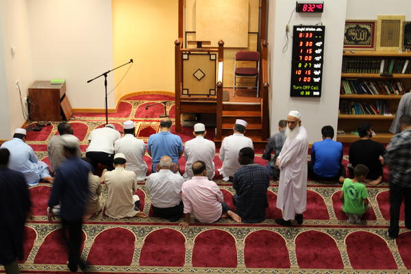 Muslims gathered at Masjid Al-Islam, a mosque in North Smithfield, to pray and break their fast during the holy month of Ramadan, when Muslims around the world fast from sunrise to sunset.