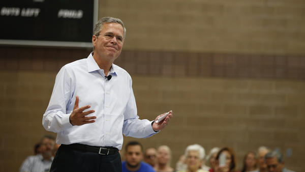 Republican presidential candidate and former Florida Gov. Jeb Bush speaks at a campaign event Saturday in Nevada.