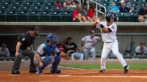Tyler Saladino, 23, at bat against the Tennessee Smokies on June 1.