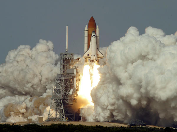 """The Space Shuttle Atlantis lifts off Thursday afternoon Feb. 7, 2008, at the Kennedy Space Center. """"It was this incredible surge of force and sound,"""" Melvin says."""