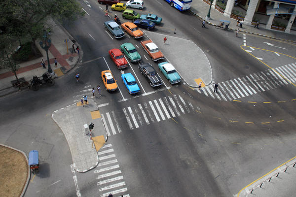 Daily traffic in Havana resembles a vintage car rally, even if it does share the city streets these days Hyundais and Peugeots and rattletrap Russian Ladas.
