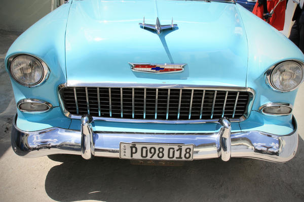 The hood of Nadine, a 1955 Chevy Bel Air.