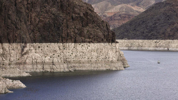 A bathtub ring marks the high-water line on Nevada's Lake Mead, which is on the Colorado River, in 2013.