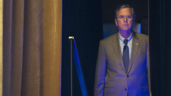Republican presidential candidate and former Florida Gov. Jeb Bush waits backstage as he is introduced before speaking at the Road to Majority 2015 convention in Washington.
