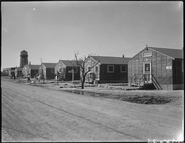 A view of the Minidoka internment camp's flimsy, tar-papered housing barracks.