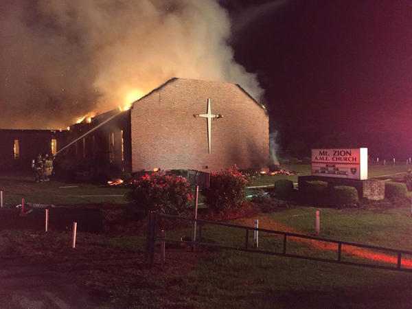 Fire crews took two hours to control the blaze at Mount Zion African Methodist Episcopal Church in Greeleyville, S.C., on Tuesday.