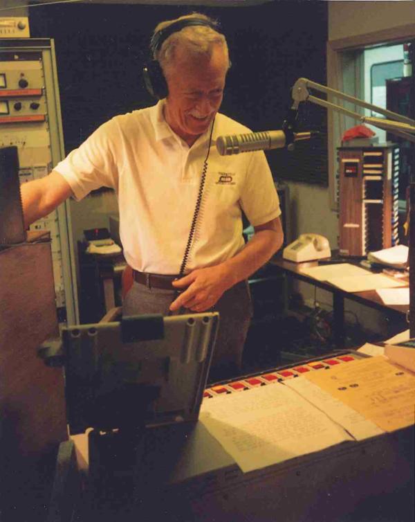 Lew Carter having fun in the WRKF live studio, 1993