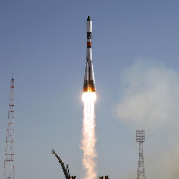 From the launch pad at the baikonur cosmodrome kazakhstan on friday