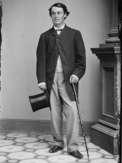 Abram Hewitt with hat in hand, circa 1865.