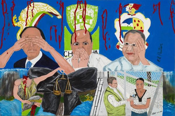 "A painting by <em>Vision en Accion </em>pastor Antonio Galvan titled ""<em>Justicia Decapitado</em>."" He says painting helps ""keeping our mind busy."""