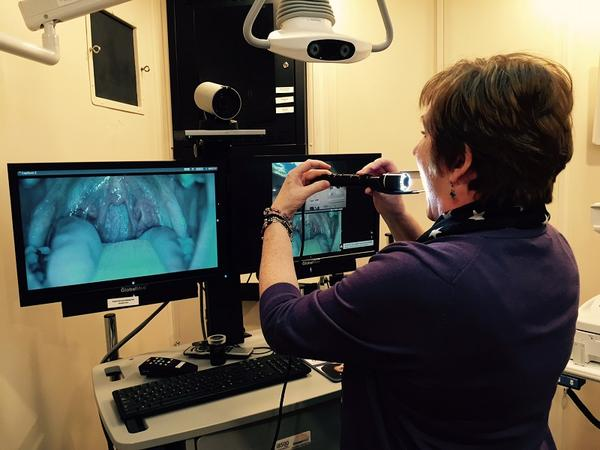 Leslie Fernyhaut demonstrates a throat exam by telemedicine in a van parked outside the VA Medical Center in White River Junction.