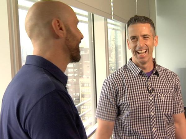 "<em>Do I Sound Gay?,</em> David Thorpe's (left) exploration of the ""gay sound,"" takes him to academics, voice coaches and gay activist and columnist Dan Savage (right)."