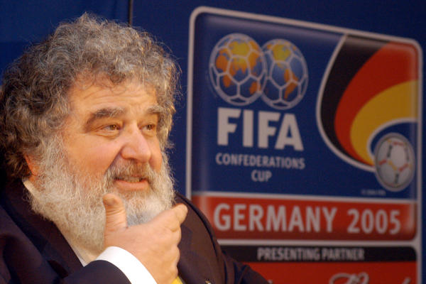 "Chuck Blazer, then-CONCACAF general secretary, attends a news conference in Frankfurt, Germany, on Feb. 14, 2005. FIFA banned him today for life over ""various acts of misconduct."""