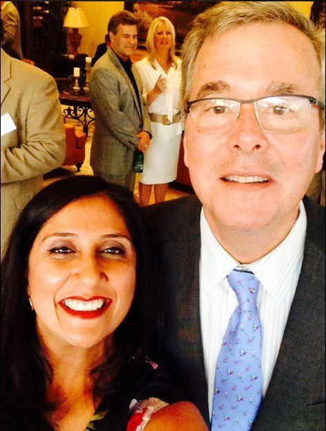 "Nisha Desai took a selfie with Jeb Bush, ""hopefully the next US President!"" her husband, Prashant, <a href=""https://twitter.com/orthopdd/status/618903879581859841"" target=""_blank"">tweeted</a>."