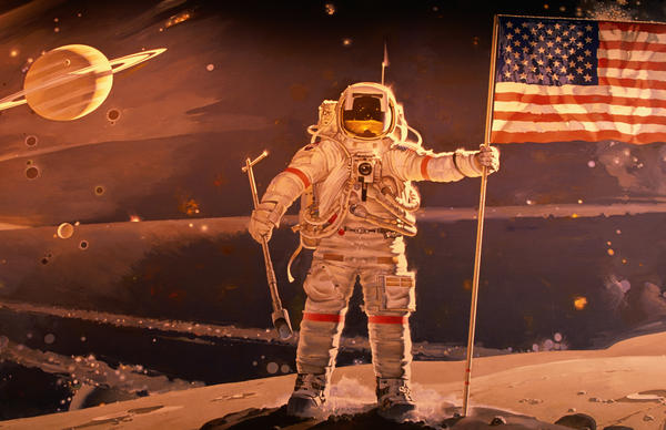 Teaching American history in the contemporary classroom — and in the coming years — holds some particular, and complicated, challenges. (Space mural by Robert McCall, National Air and Space Museum)