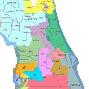 Florida's 5th Congressional District, seen in dark purple, meanders from Jacksonville to Orlando. To meet requirements that maps be compact, the court said it would have to be radically redrawn.