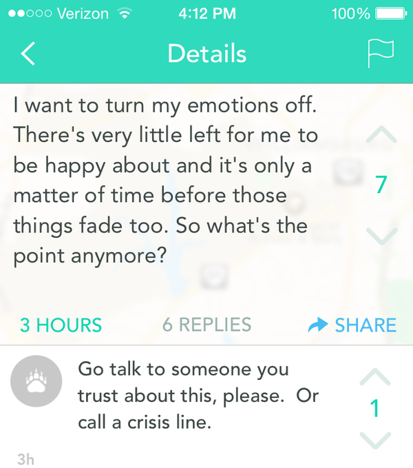 Screen shot of a Yik Yak exchange where one person expresses thoughts about possibly hurting him/herself, and others respond.