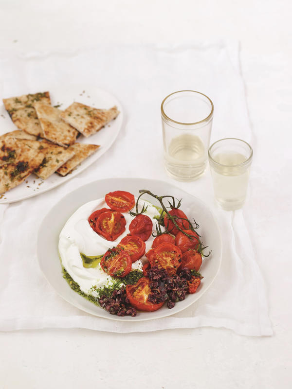 Labneh with tomatoes  from Yogurt Culture,  by Cheryl Sternman