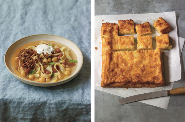 Left: A dollop of yogurt adds a comforting creaminess to an Afghan beef noodle soup. Right: Author Cheryl Sternman Rule learned the recipe for this syrup-drenched orange phyllo cake while in Greece. (Scroll down for the recipe.) From <em>Yogurt Culture</em>