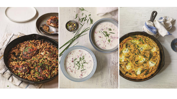 <strong>Beyond the fruit-sweetened stuff:</strong> Around the world, cooks turn to yogurt for a huge variety of culinary delights. From left: cast-iron chicken marinated in a yogurt-spice blend and topped with the Middle Eastern grain freekeh; a Persian cold yogurt soup; shitake frittata with labneh, kale and shallots. From <em>Yogurt Culture</em> by Cheryl Sternman Rule