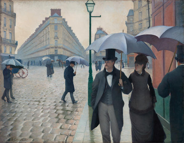 Caillebotte puts you right on the sidewalk in <em>Paris Street, Rainy Day,</em> 1877.