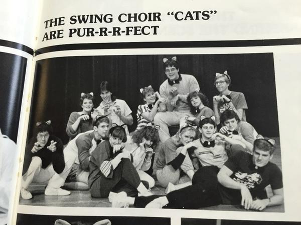 Walker, the one without cat ears, during his high school swing choir's performance of songs from the musical <em>Cats</em>.