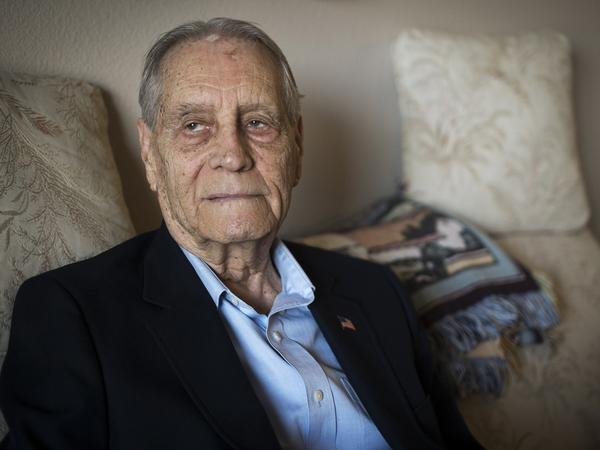 James Murphy, World War II veteran and prisoner of war, was photographed at his home in Santa Maria, Calif., on Thursday. Murphy received an apology from a senior Mitsubishi executive for being forced to work in the company's mines during the war.