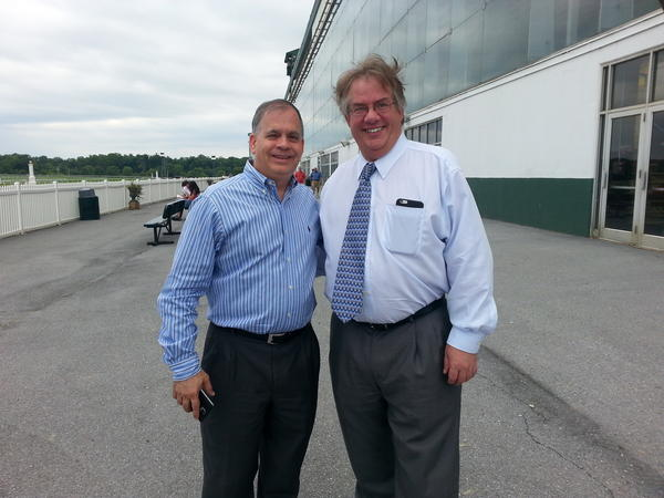 Tim Ritvo (left) and Sal Sinatra, of the Stronach Company, owners of Laurel Park and Pimlico