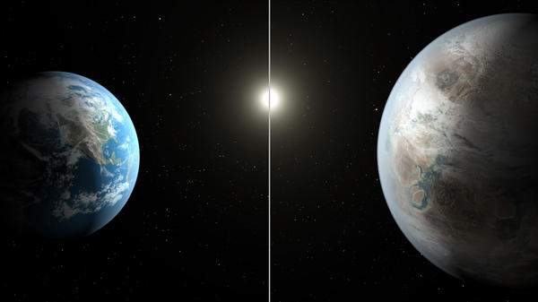 Artist's concept compares Earth (left) to the new planet, called Kepler-452b, which is about 60 percent larger in diameter.