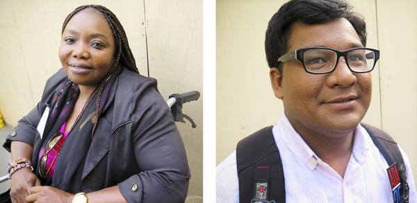 Patience Dickson-Ogolo of Nigeria (left) and Krishna Sunar of Nepal are advocates for people with disabilities in their home countries.