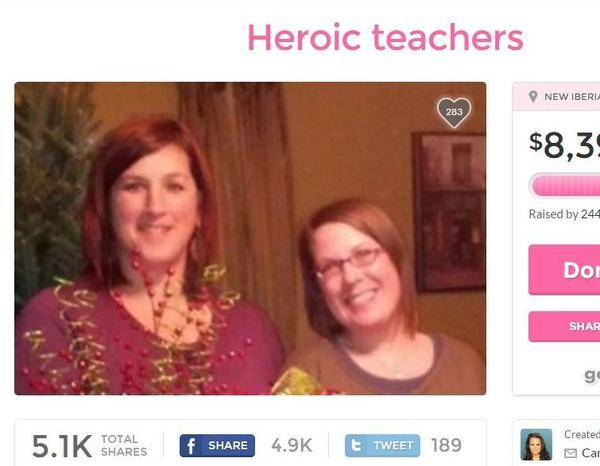 A screenshot of a fundraising page for teachers Jena Meaux and Ali Martin, who are being hailed as heroes for their actions in Thursday's theater attack.
