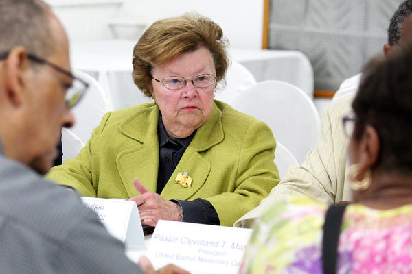 Sen. Barbara Mikulski talked with faith leaders from Clergy United to Transform Sandtown at First Mt. Calvary Baptist Church on Monday.