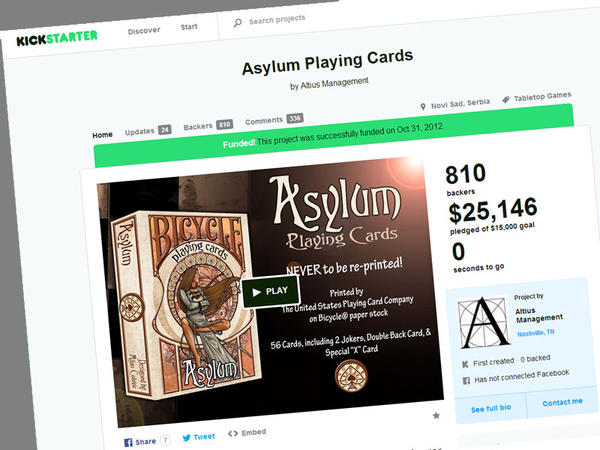 Backers of a 2012 crowdfunding project say they have finally recieved the playing cards they were promised.