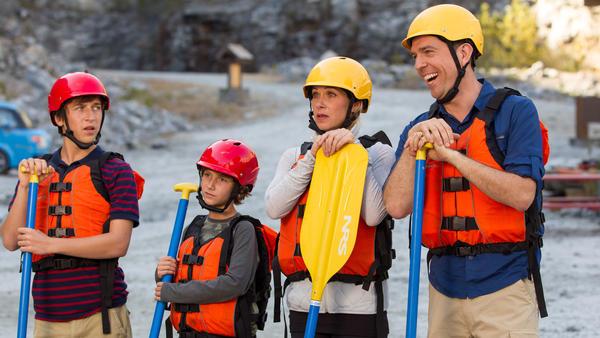 Skyler Gisondo (from left), Steele Stebbins, Christina Applegate and Ed Helms star as the next generation of Griswolds in <em>Vacation.</em>