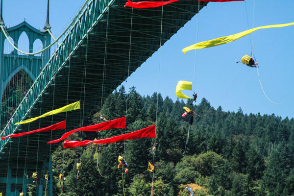 <p>Kayaktavists and climbers rapelled from the St. Johns Bridge to block the Fennica, Shell's icebreaker ship, from leaving the port of Portland Wednesday, July 29, 2015.</p>