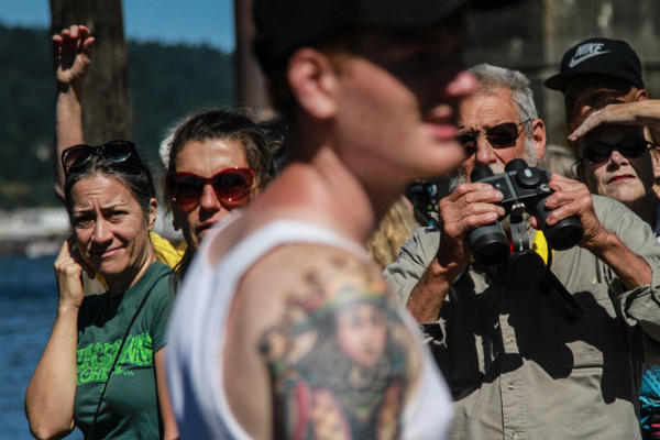 <p>Community members watched anxiously as the bridge was raised.</p>
